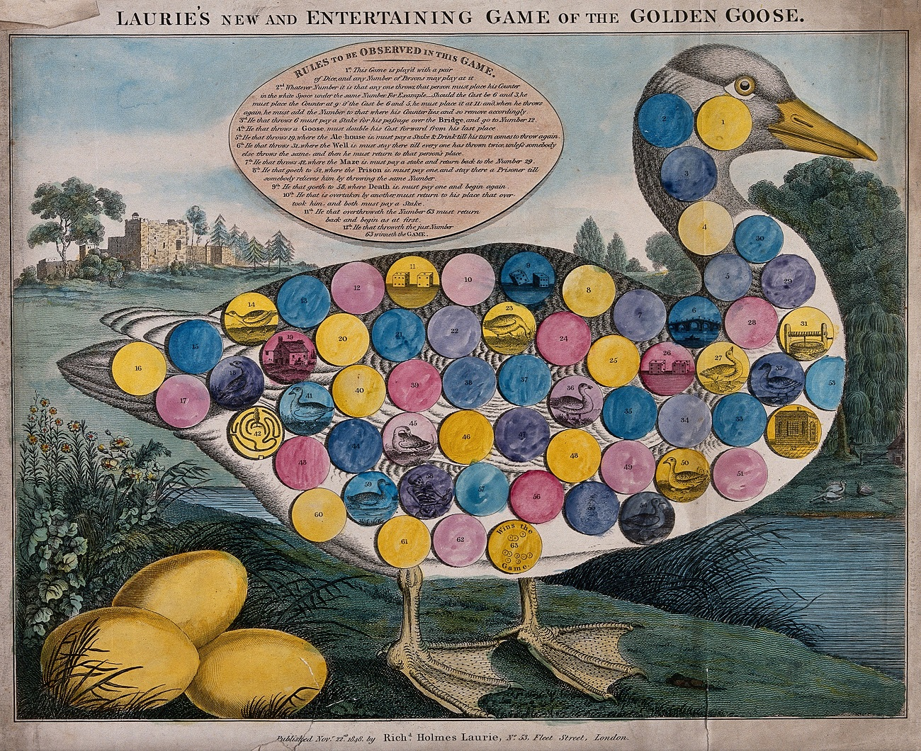 A large goose, with three golden eggs: numbered circles printed on the body of the goose for playing the game of goose. Coloured engraving.. Credit: Wellcome Collection. Attribution 4.0 International (CC BY 4.0)