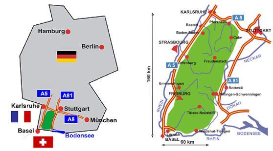 mapa de situación de Selva Negra en Alemania